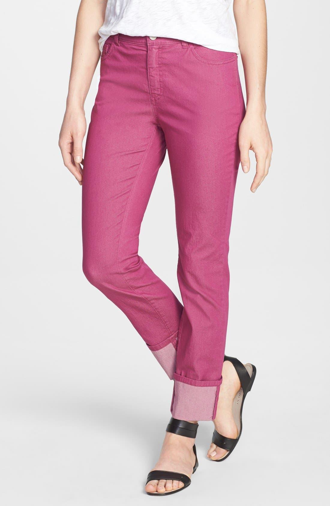 Main Image - Lafayette 148 New York Cuffed Colored Stretch Denim Crop Jeans