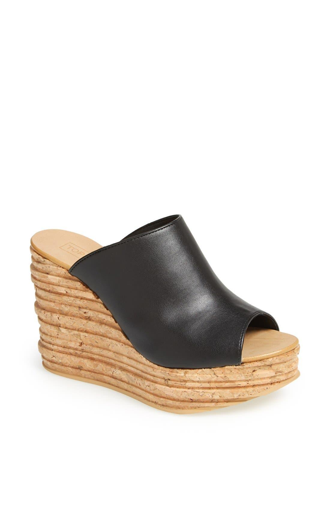Alternate Image 1 Selected - Topshop 'Walnut' Wedge Mule Sandal