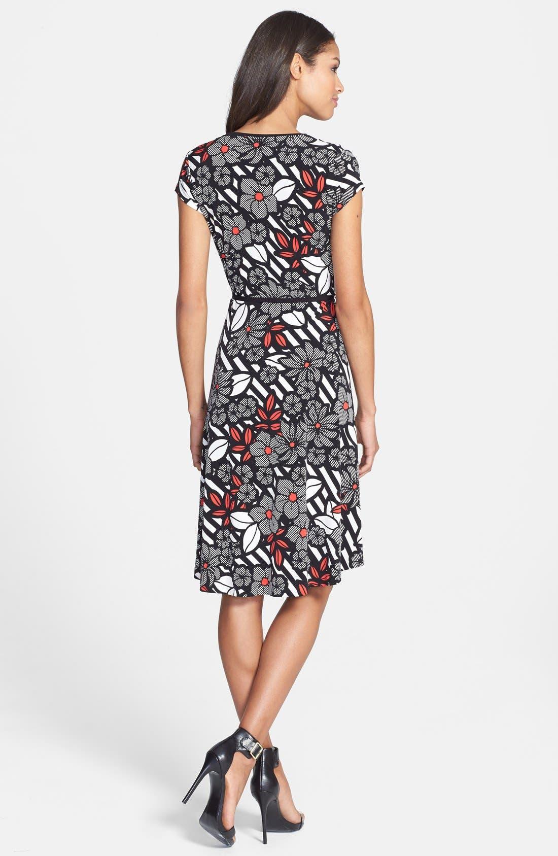 Alternate Image 2  - Anne Klein Print Cap Sleeve Wrap Dress