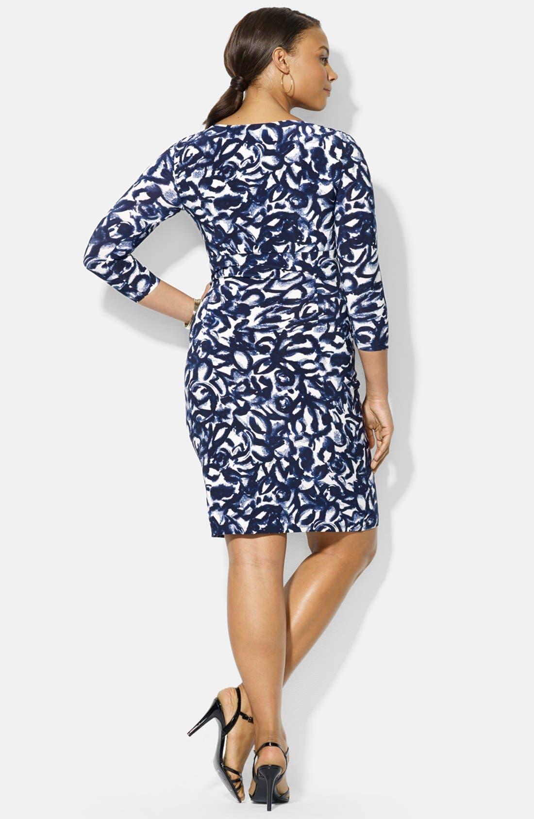 Alternate Image 2  - Lauren Ralph Lauren Print Jersey Surplice Dress (Plus Size)