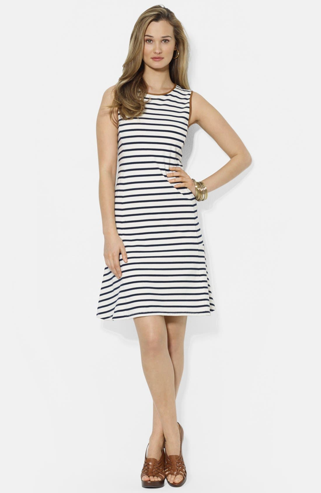 Main Image - Lauren Ralph Lauren Faux Leather Trim Stripe Cotton Dress (Petite)