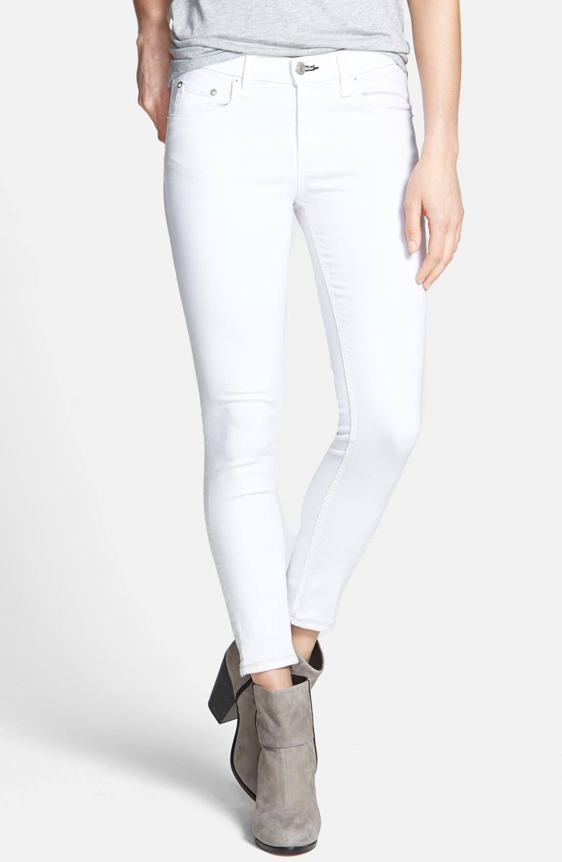 Main Image - rag & bone/JEAN 'The Skinny' Crop Jeans (Bright White)
