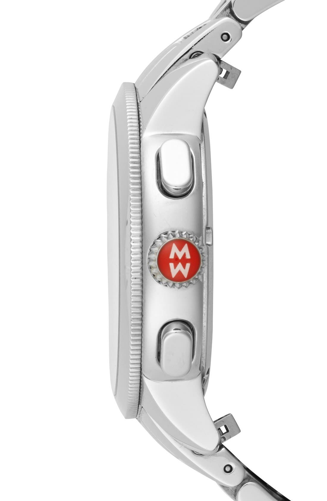 Alternate Image 3  - MICHELE 'Uptown' Diamond Dial Chronograph Watch Case & Bracelet, 39mm