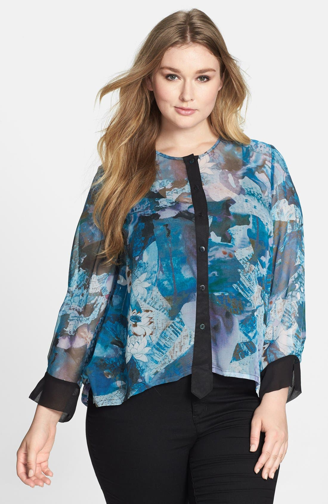 Alternate Image 1 Selected - Citron Collarless Print Silk Georgette Blouse (Plus Size)