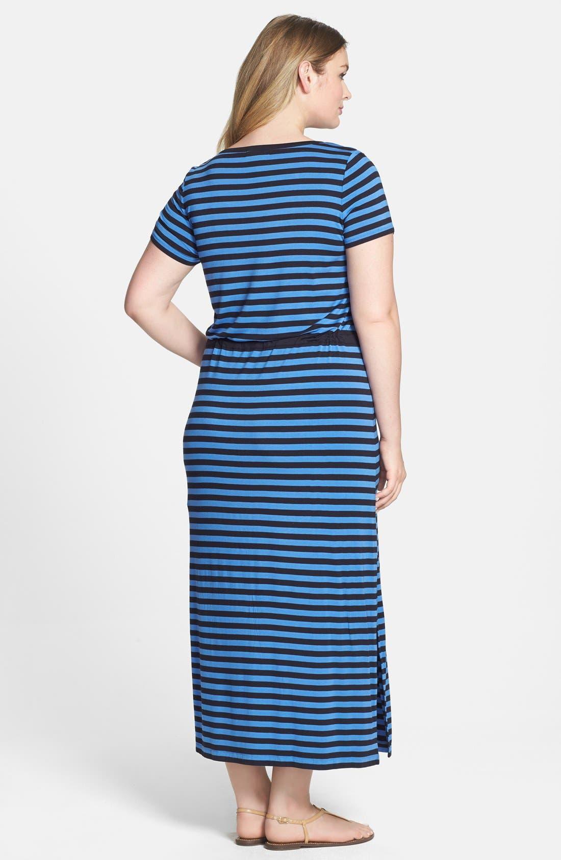 Alternate Image 2  - MICHAEL Michael Kors Stripe Drawstring Waist Stretch Knit Maxi Dress (Plus Size)