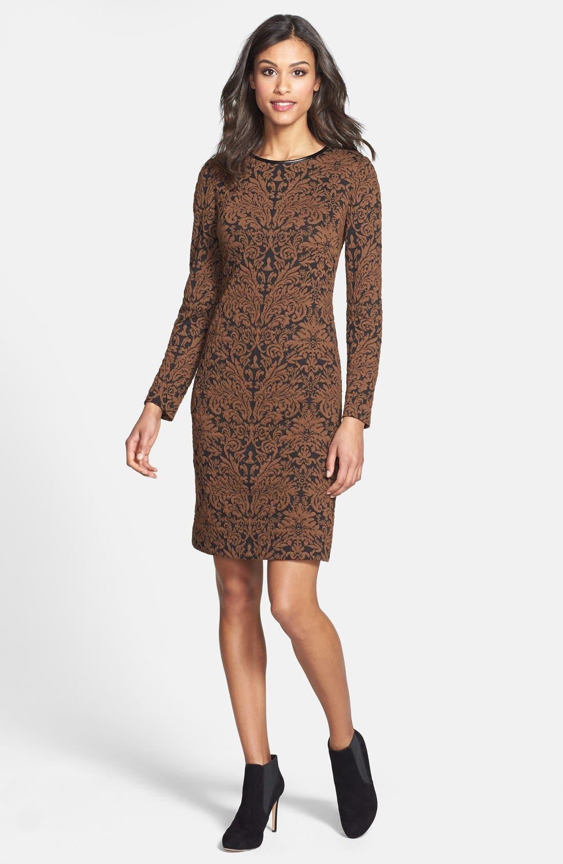 Alternate Image 3  - Vince Camuto Long Sleeve Jacquard Sheath Dress (Regular & Petite)