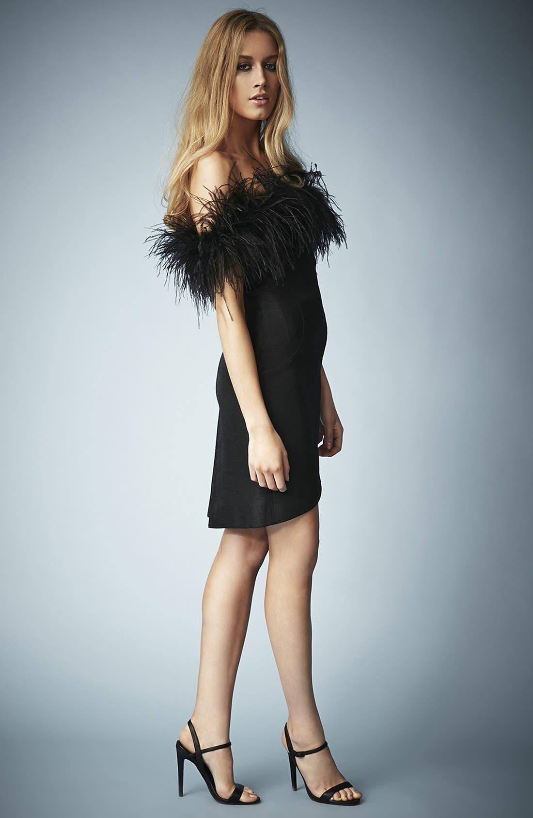 Alternate Image 5  - Kate Moss for Topshop Feather Off Shoulder Cocktail Dress