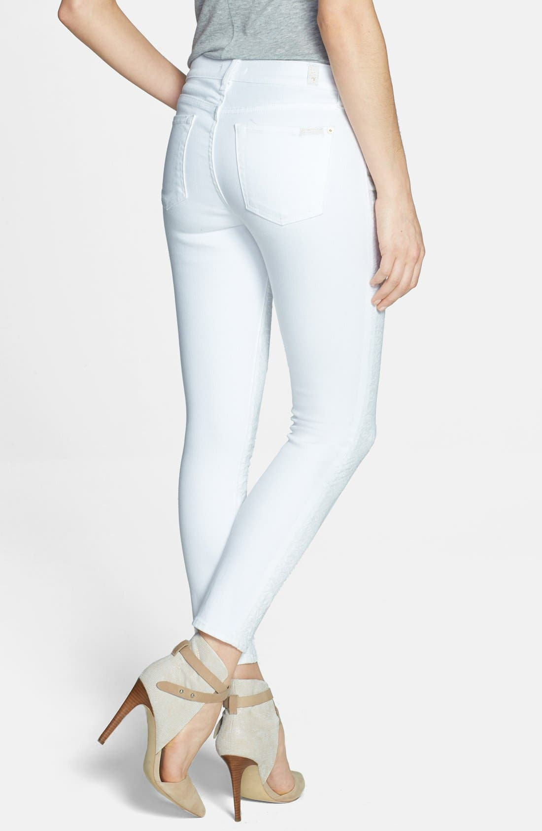 Alternate Image 2  - 7 For All Mankind® Textured Front Skinny Jeans (White Royal Jacquard)