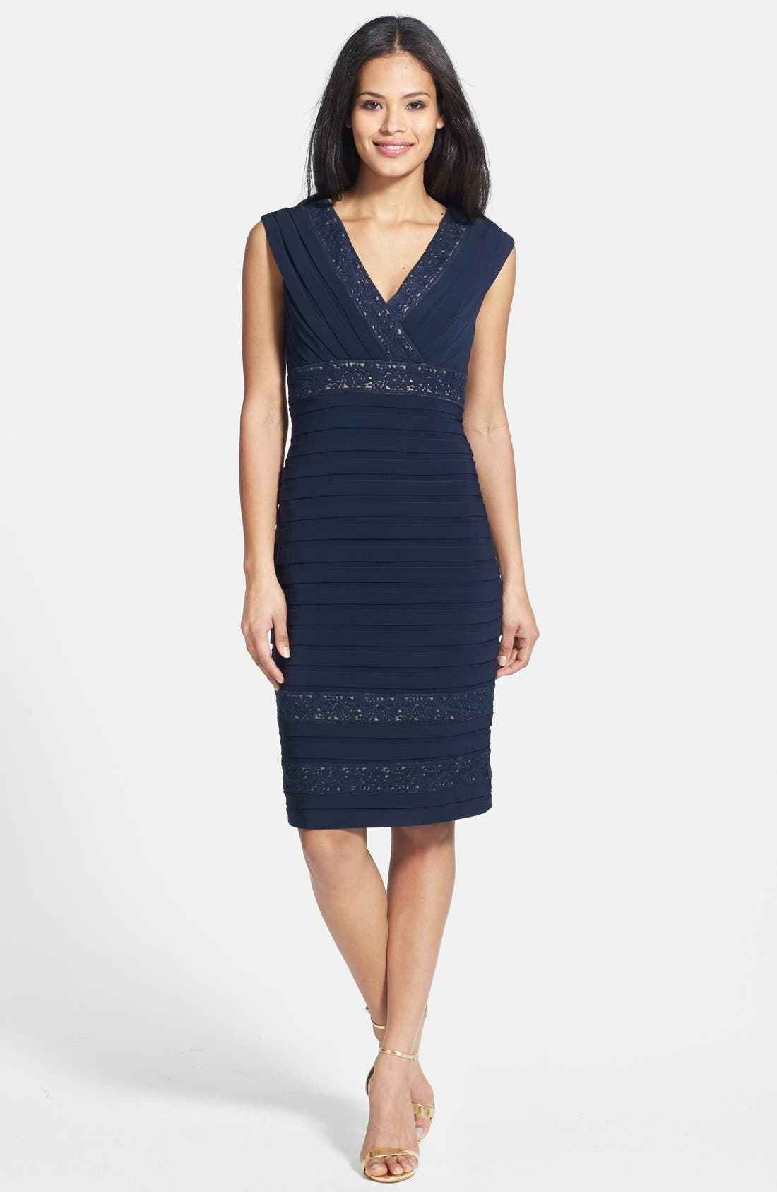 Alternate Image 3  - Adrianna Papell Lace Inset Banded Sheath Dress