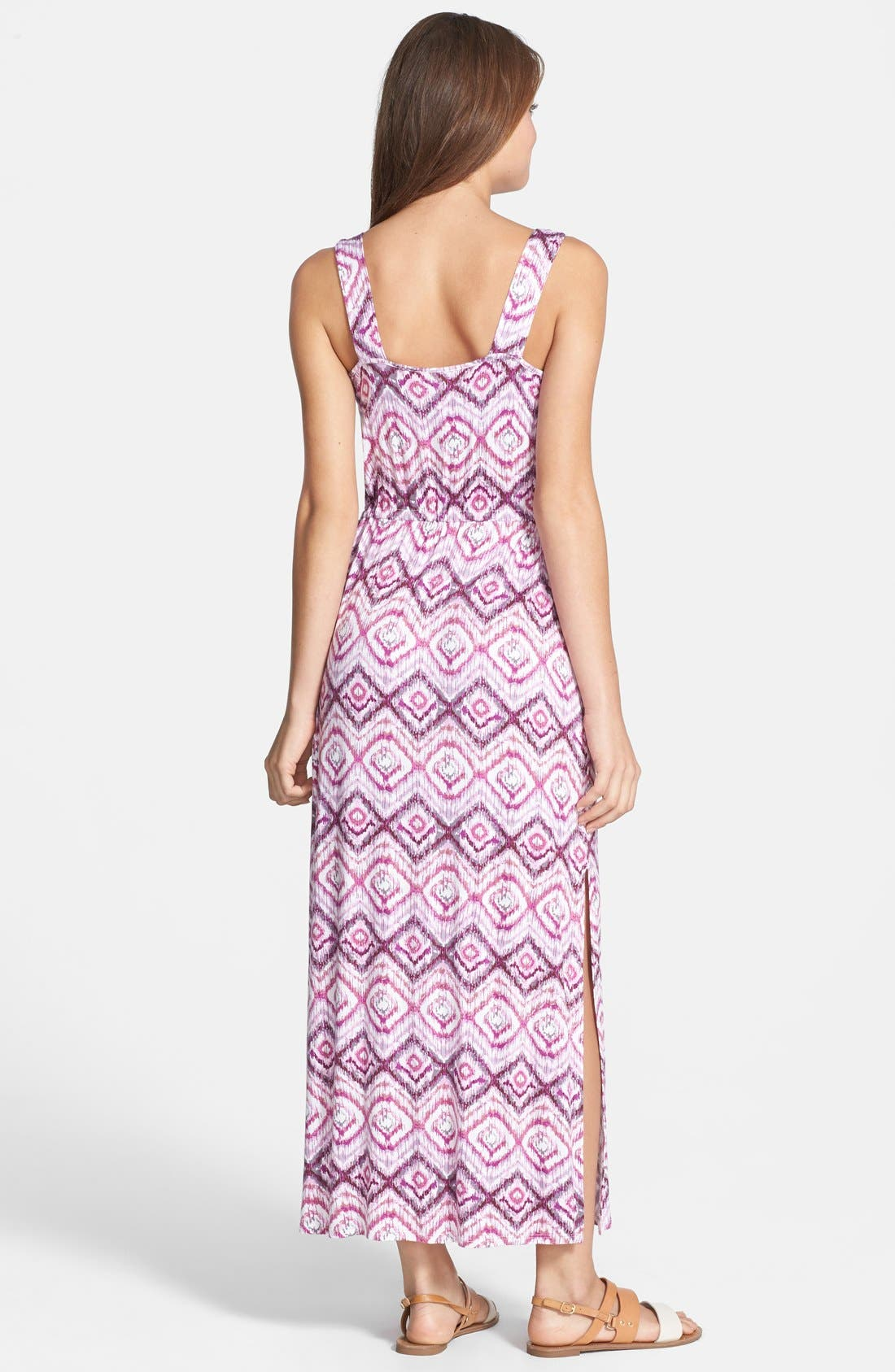 Alternate Image 2  - Loveappella Drawstring Waist Maxi Dress