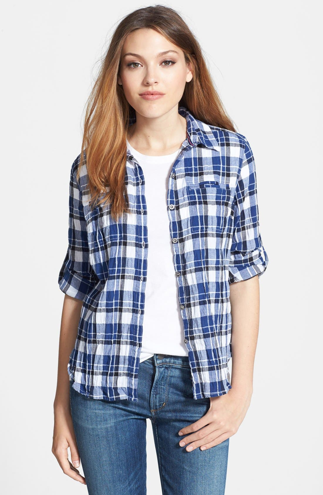 Alternate Image 1 Selected - Sandra Ingrish Plaid Roll Sleeve Cotton Shirt (Regular & Petite)