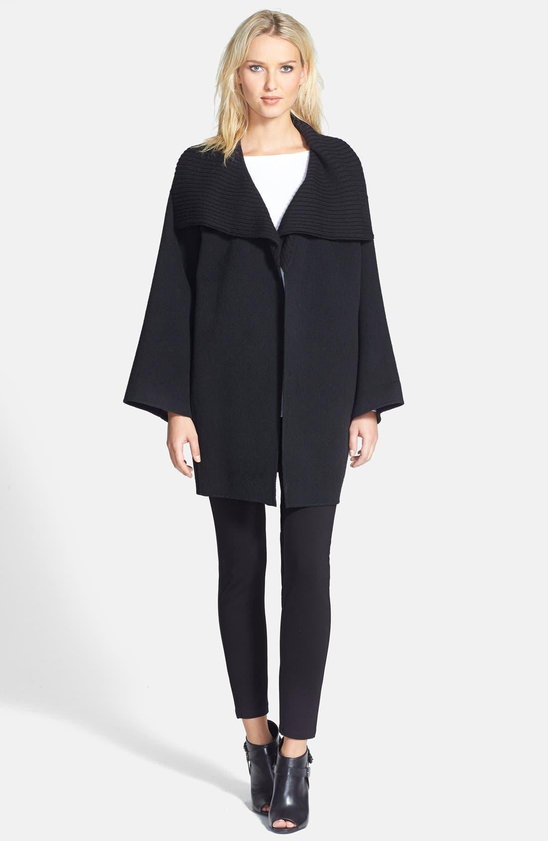Alternate Image 3  - Eileen Fisher Knit Funnel Collar Wool Blend Coat (Petite) (Online Only)