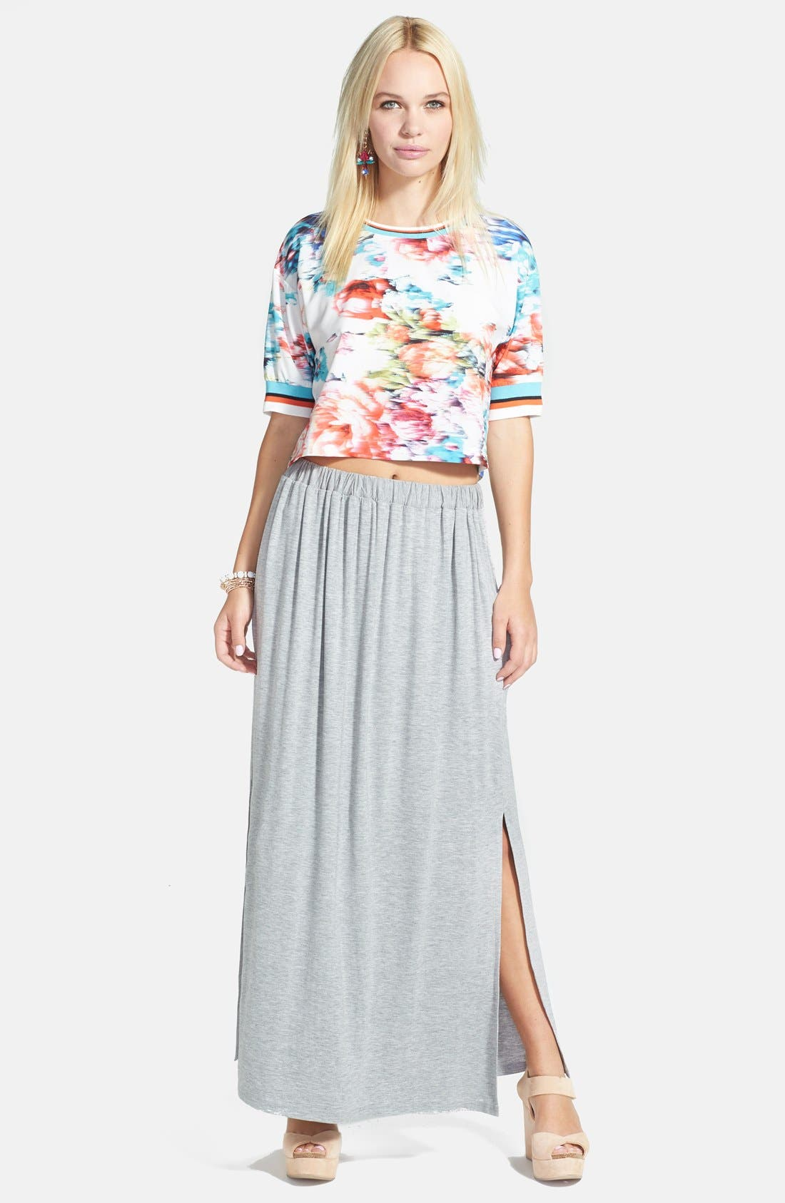 Alternate Image 1 Selected - re:named Floral Print Stripe Trim Tee