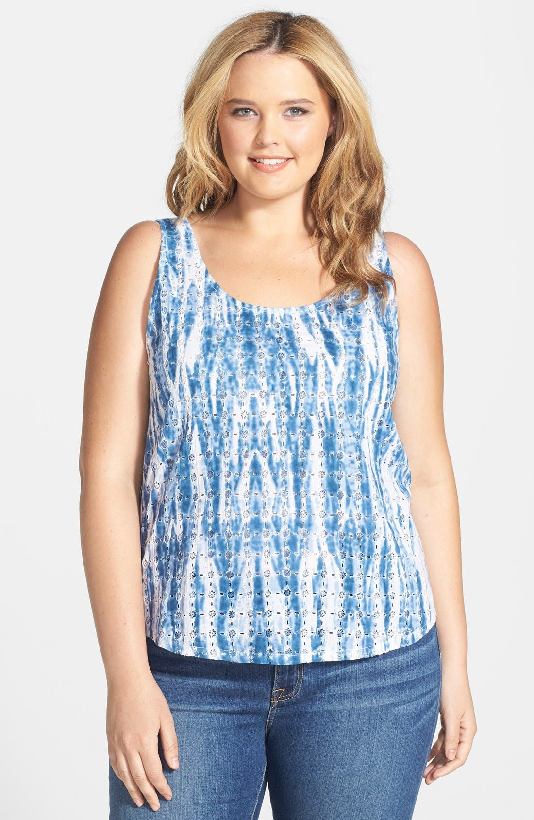 Alternate Image 1 Selected - Lucky Brand Tie Dye Tank (Plus Size)