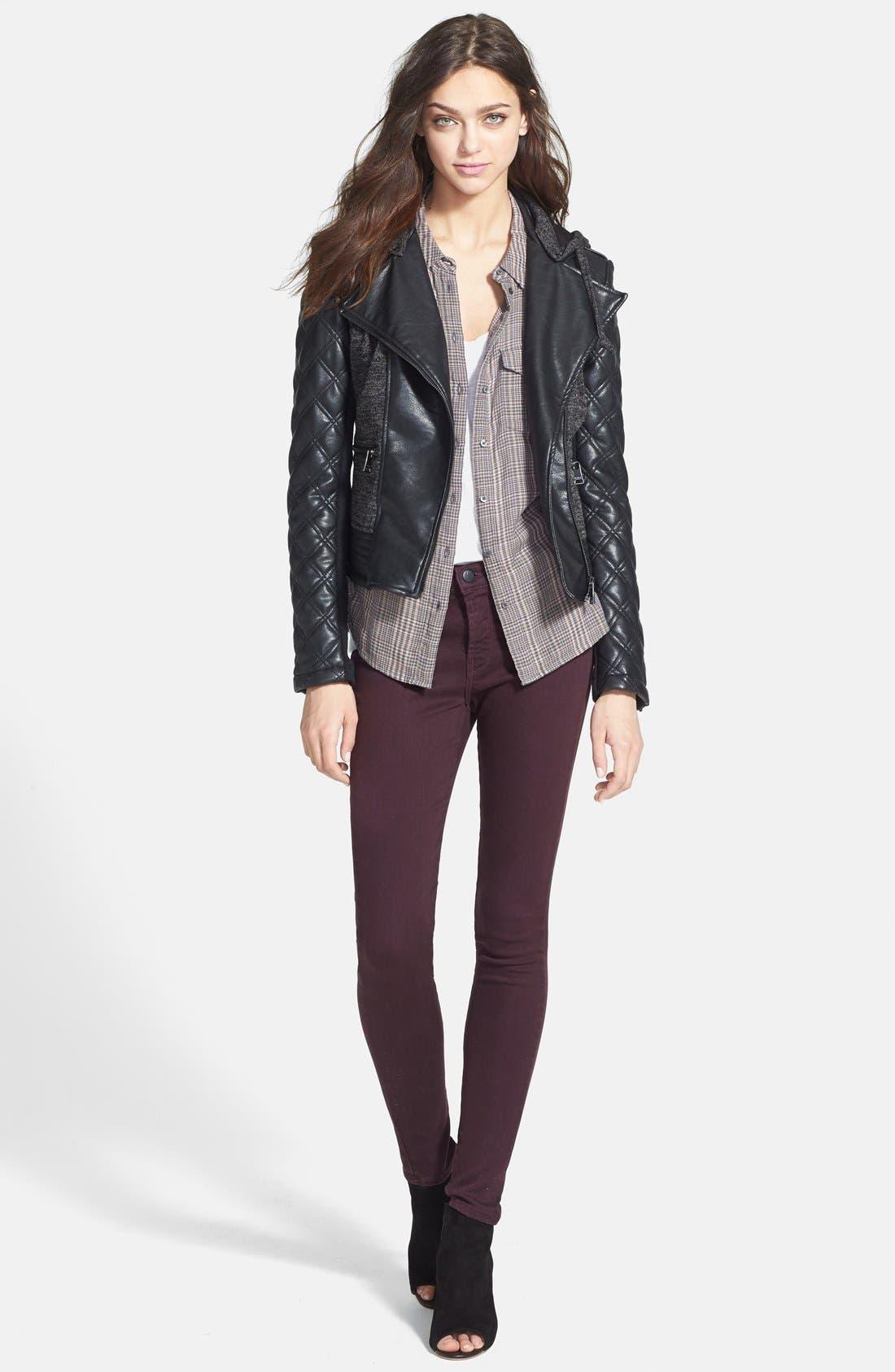 Main Image - bebe Knit & Faux Leather Hooded Moto Jacket