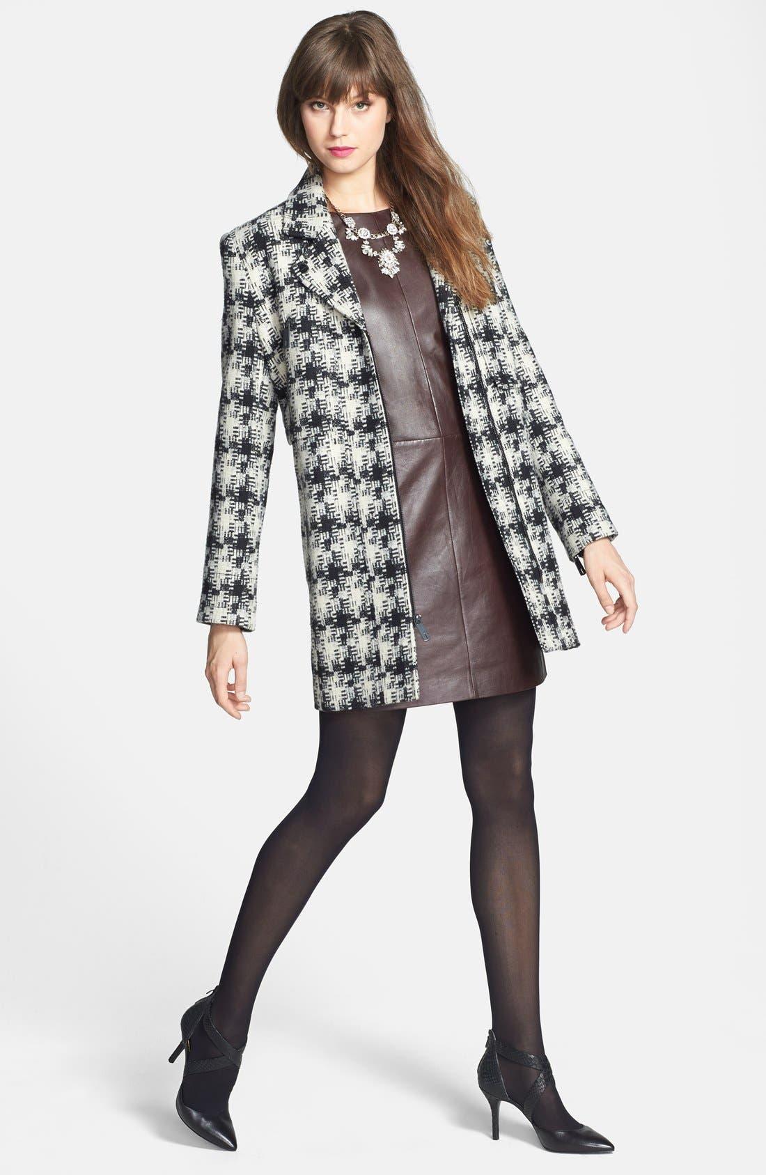 Alternate Image 4  - Kenneth Cole New York Asymmetrical Zip Plaid Tweed Coat