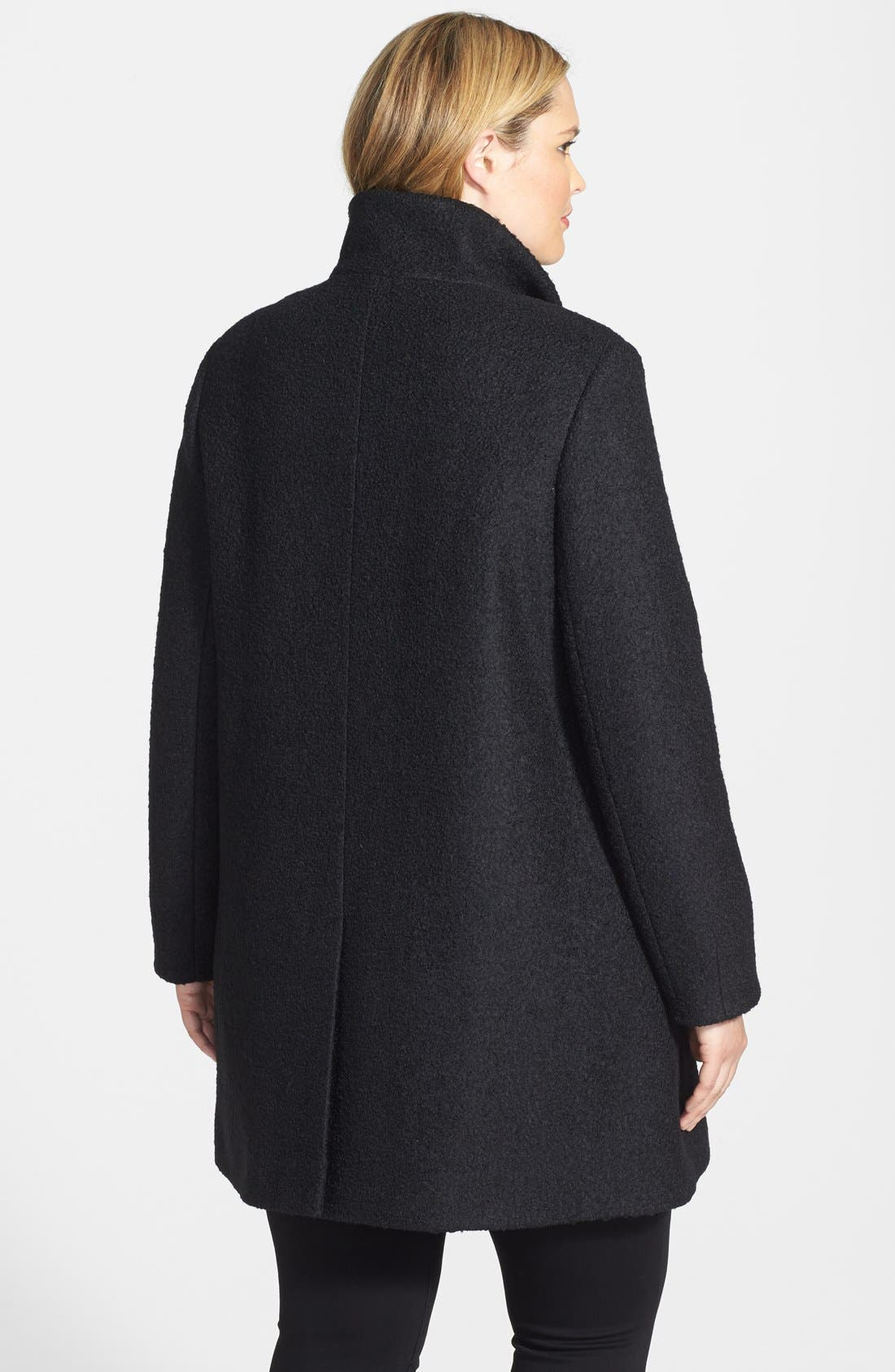 Alternate Image 2  - DKNY Asymmetric Zip Textured Funnel Collar Coat (Plus Size)