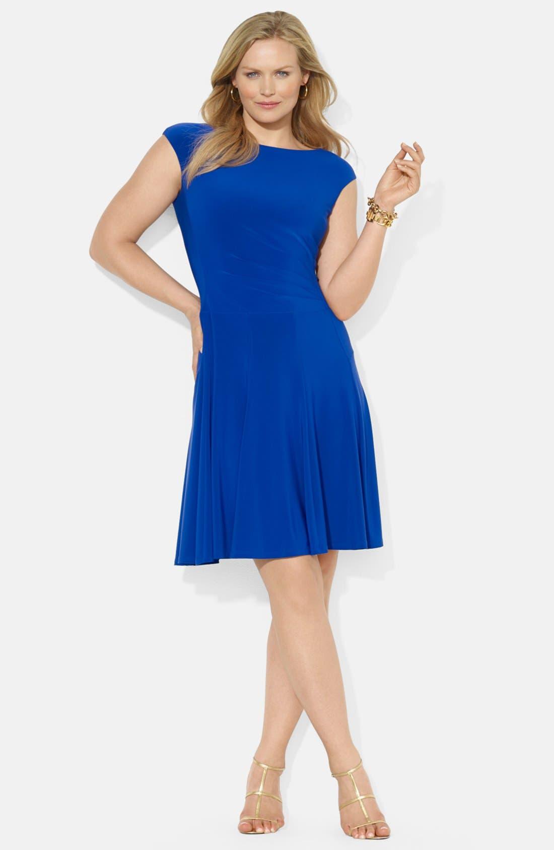 Alternate Image 1 Selected - Lauren Ralph Lauren Boat Neck Stretch Jersey Dress (Plus Size)