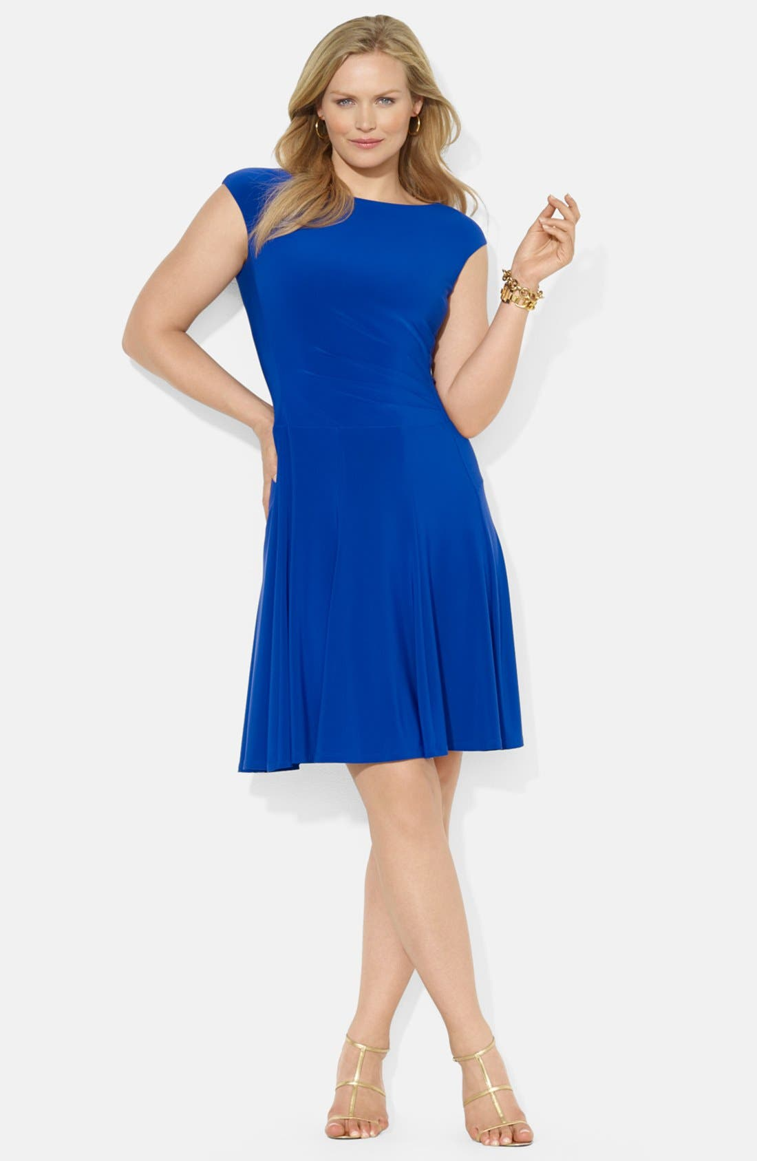 Main Image - Lauren Ralph Lauren Boat Neck Stretch Jersey Dress (Plus Size)