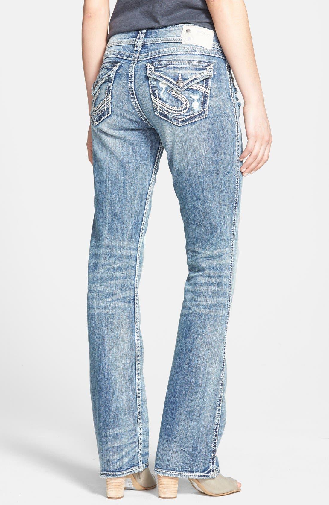 Alternate Image 2  - Silver Jeans Co. 'Suki' Distressed Flap Pocket Slim Bootcut Jeans (Indigo)