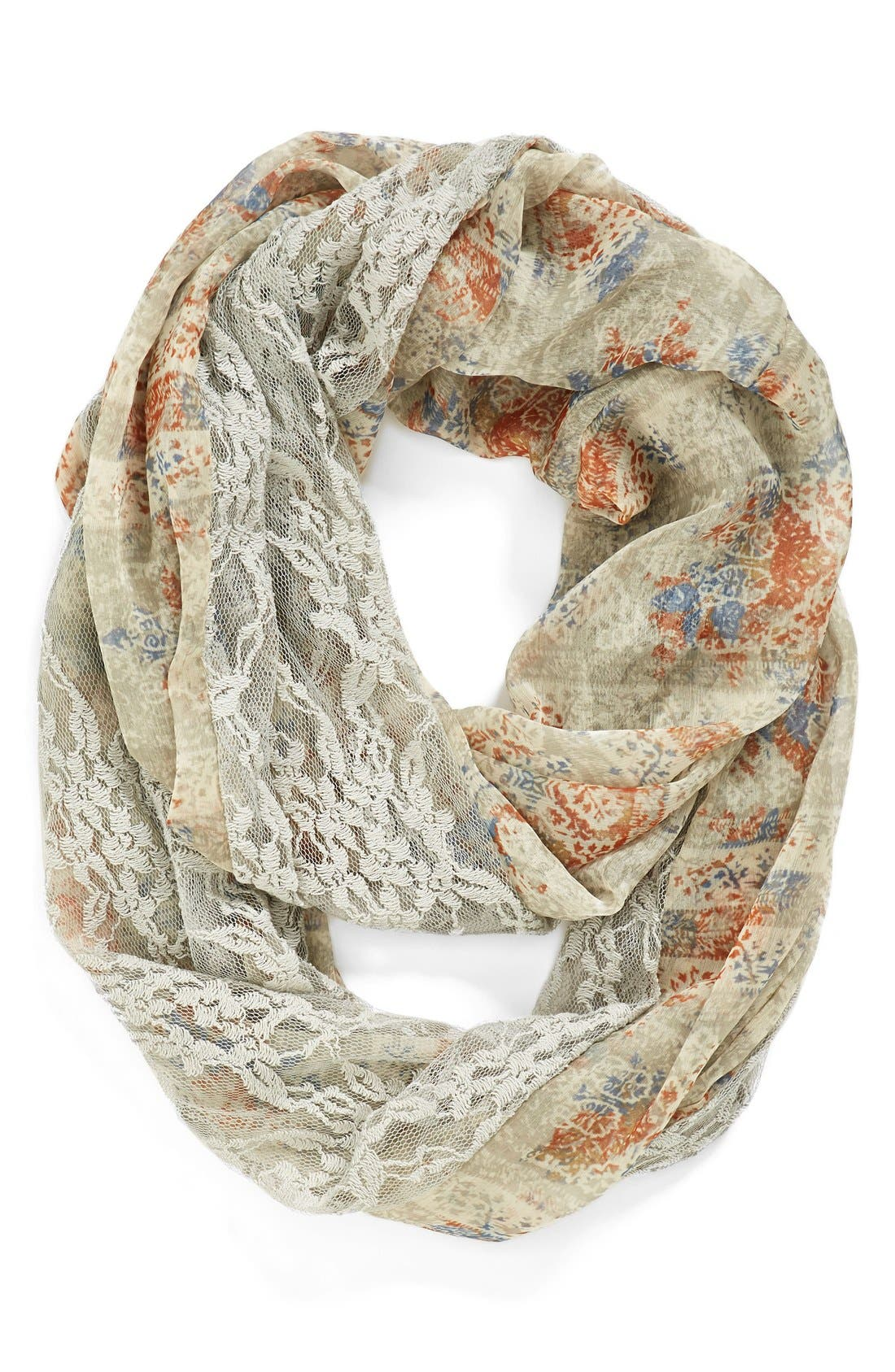 Main Image - Hinge Lace & Floral Infinity Scarf
