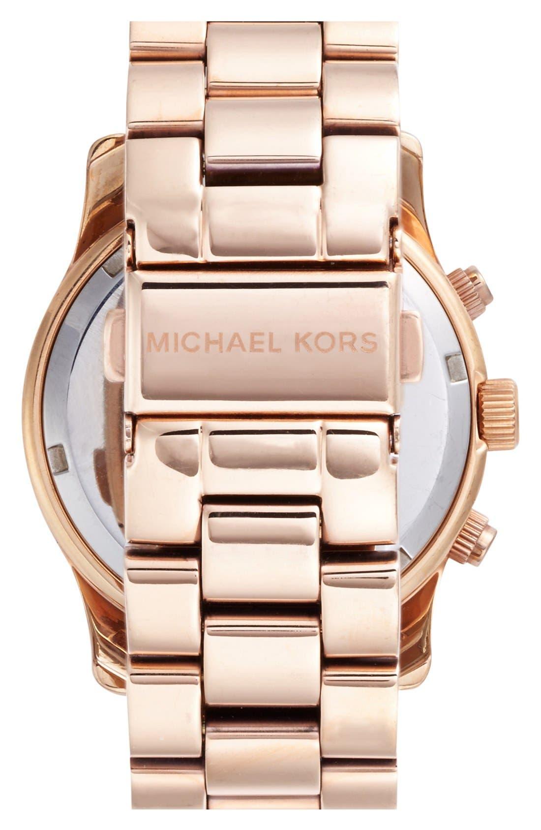 Alternate Image 2  - Michael Kors 'Runway' Rose Gold Plated Watch, 37mm