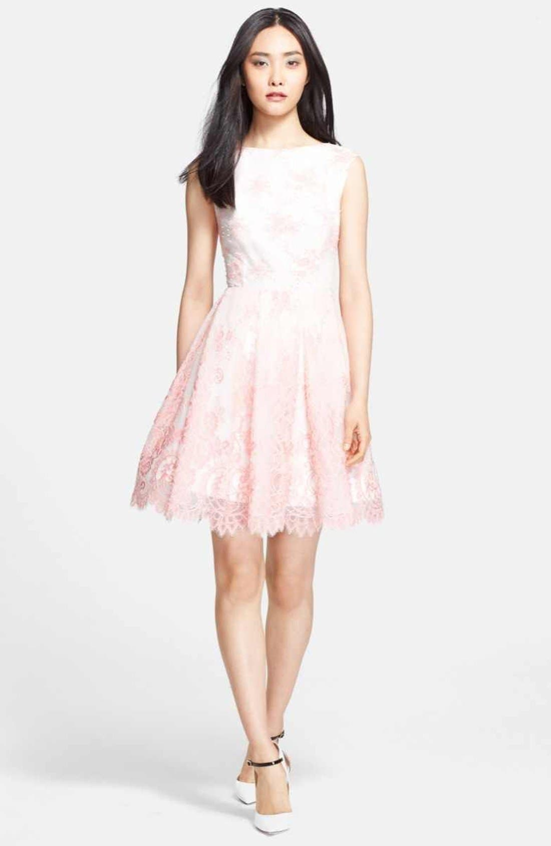 Main Image - Alice + Olivia 'Zenden' Lace Fit & Flare Dress