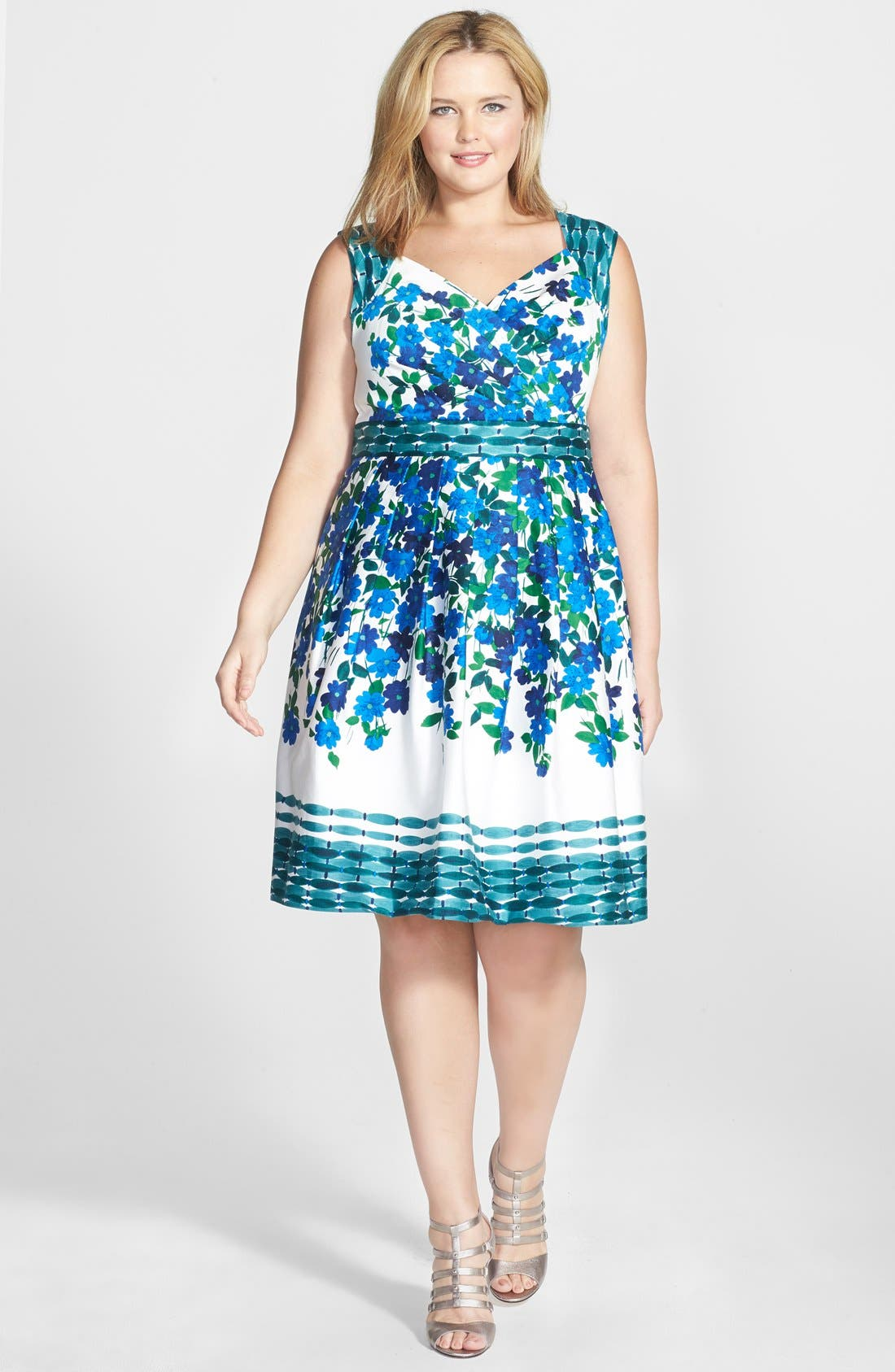 Main Image - Adrianna Papell Floral Print Stretch Cotton Fit & Flare Dress (Plus Size)