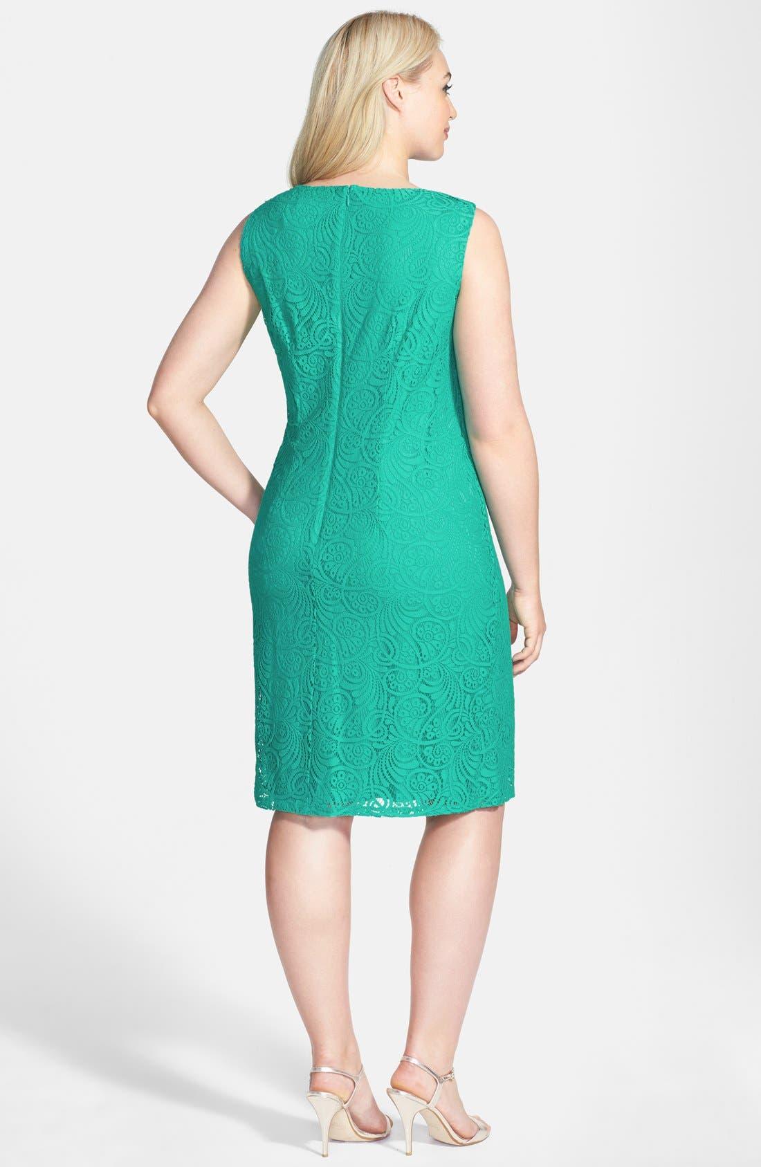 Alternate Image 2  - Jessica Howard Soutache Neck Lace Sheath Dress (Plus Size)