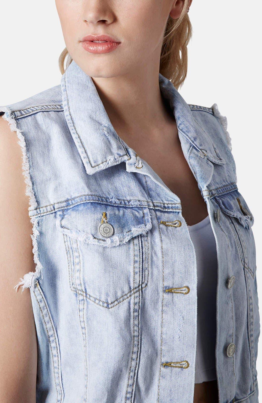 Alternate Image 4  - Topshop Moto Denim Vest