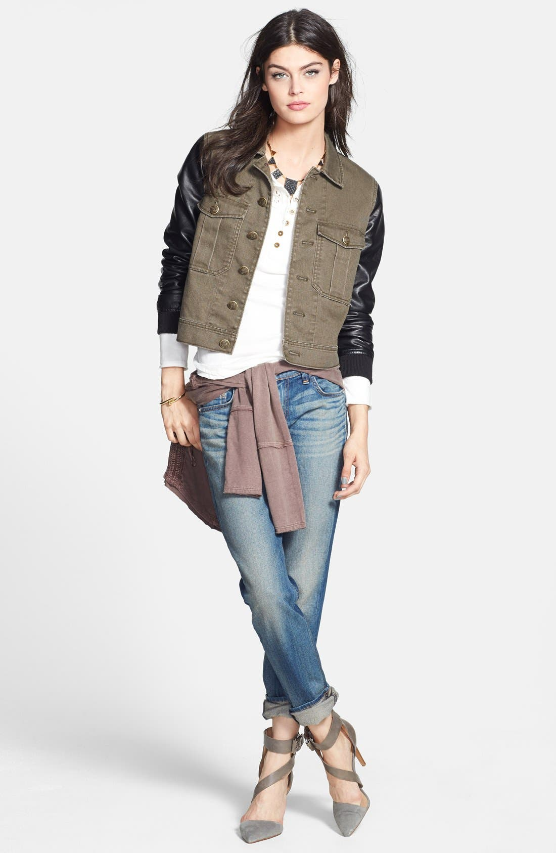 Alternate Image 4  - Free People Faux Leather Sleeve Denim Jacket (Nordstrom Exclusive)