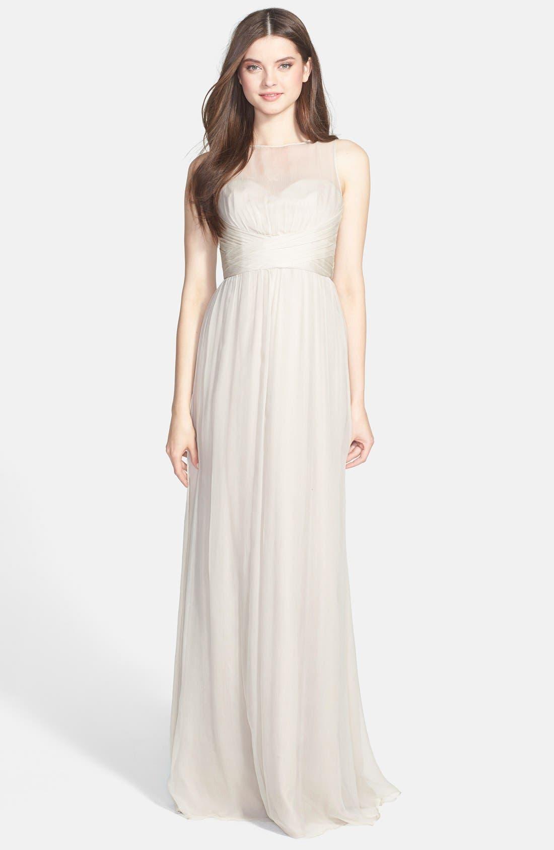 Alternate Image 1 Selected - Amsale Illusion Yoke Crinkled Silk Chiffon Gown