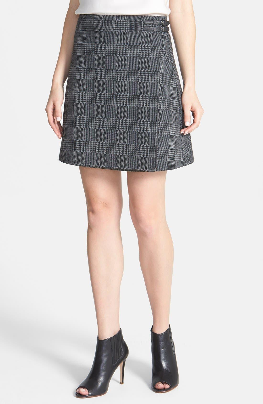 Alternate Image 1 Selected - Vince Camuto Glen Plaid Faux Wrap Miniskirt