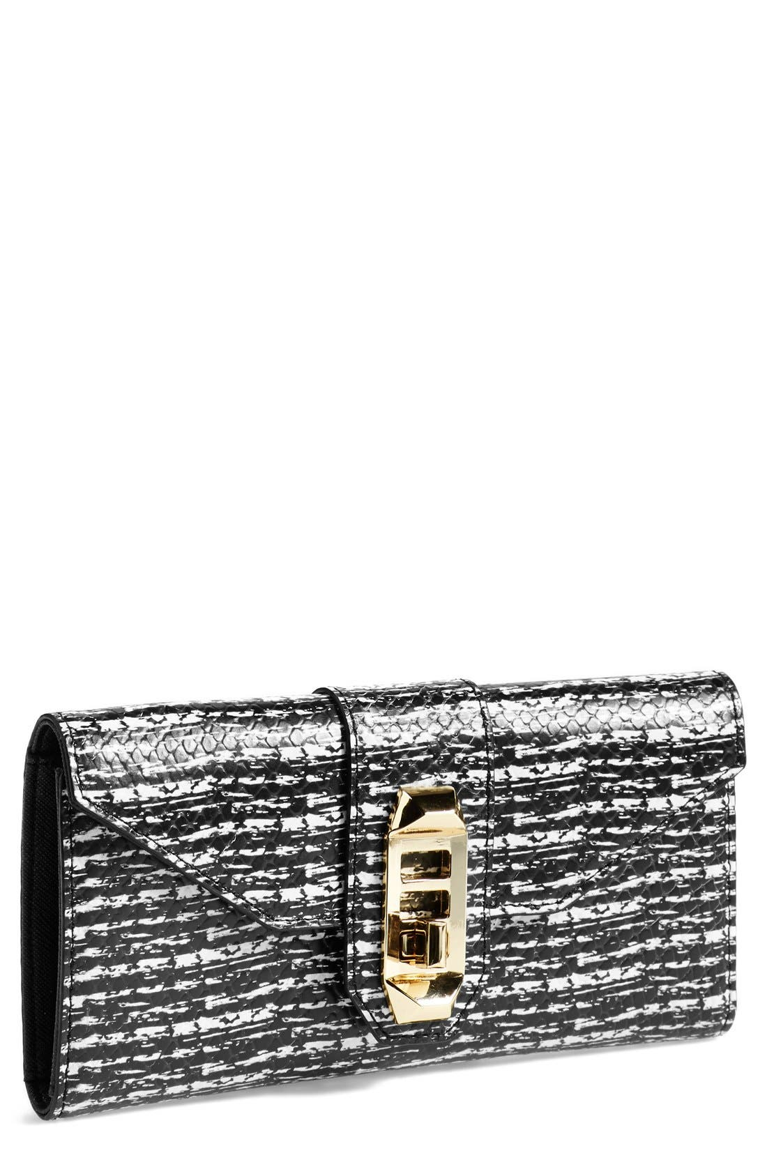 Main Image - Rebecca Minkoff 'Mason' Snake Embossed Turnlock Wallet