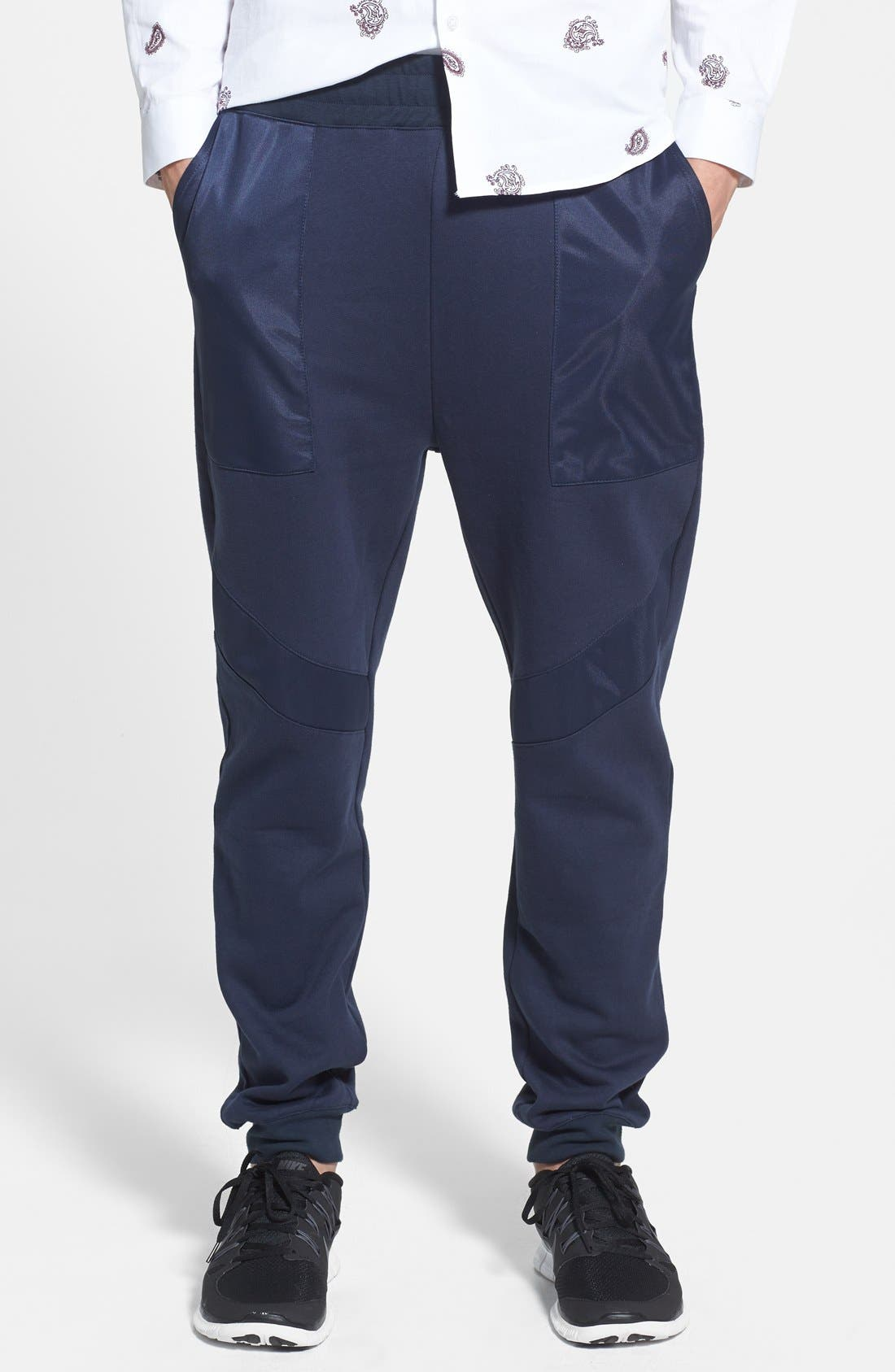 Main Image - Topman Skinny Fit Jogger Pants with Patch Panel