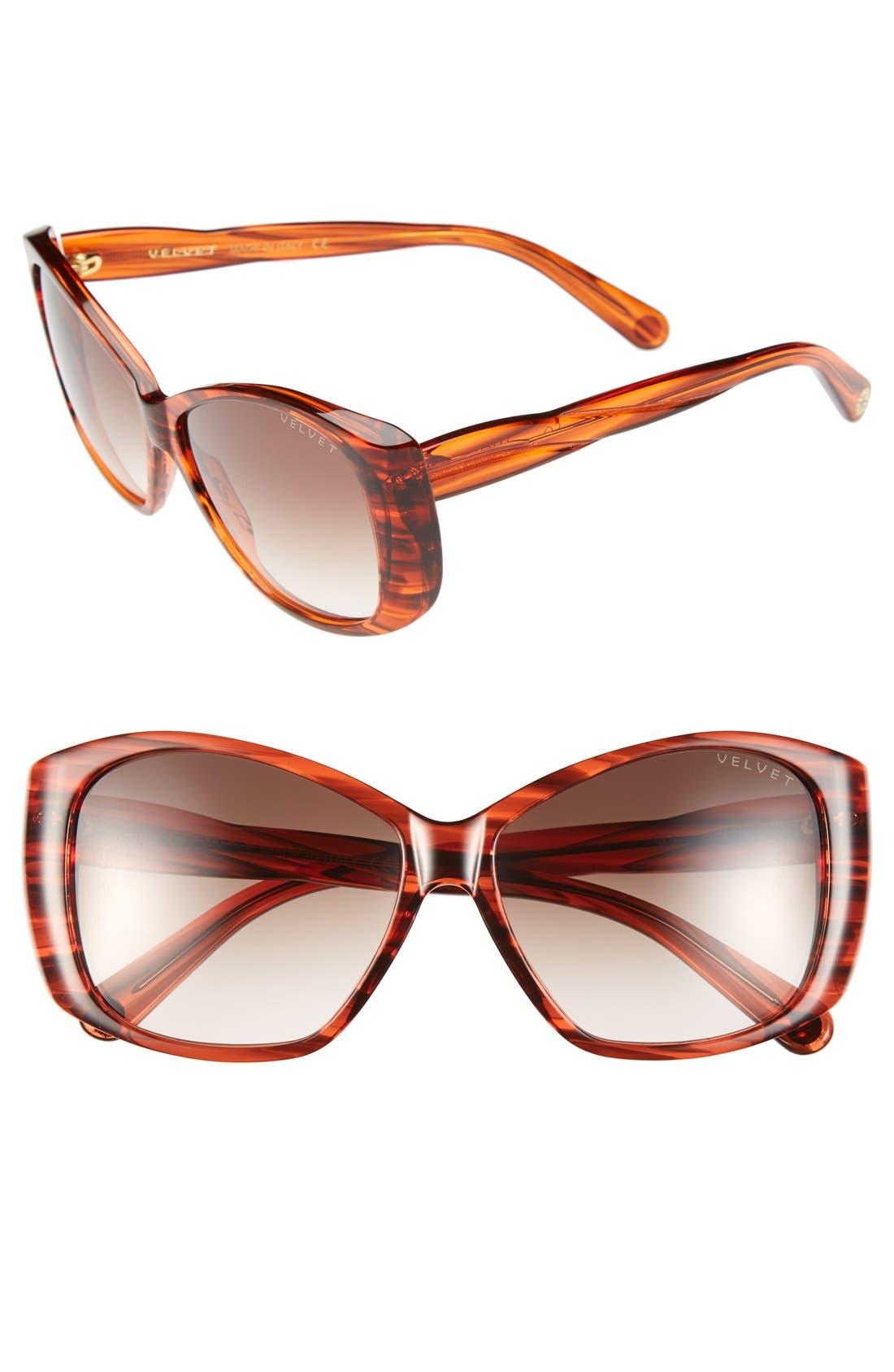 Alternate Image 1 Selected - Velvet Eyewear 'Lucy' 56mm Sunglasses