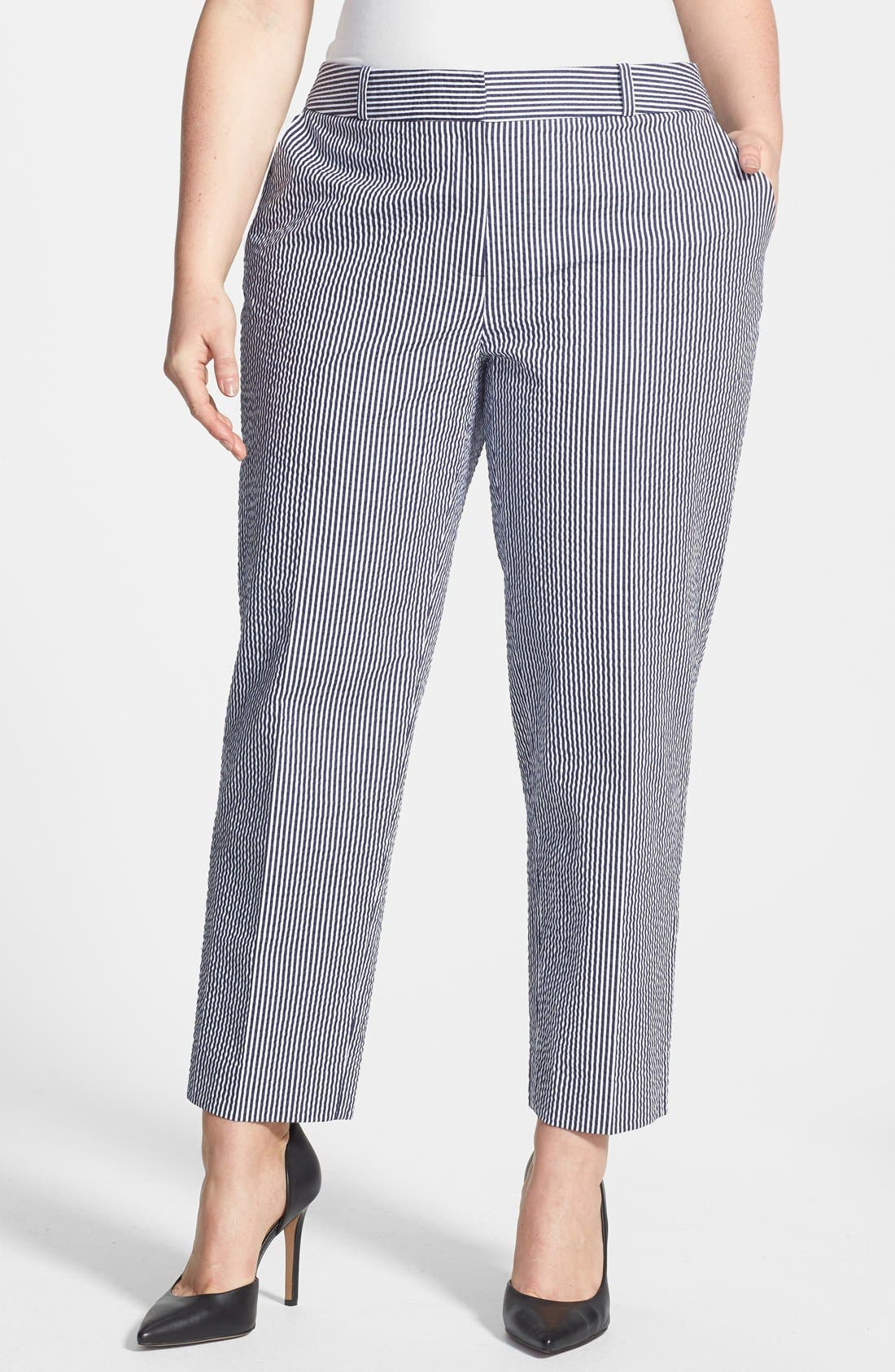 Main Image - Anne Klein Seersucker Capri Pants (Plus Size)