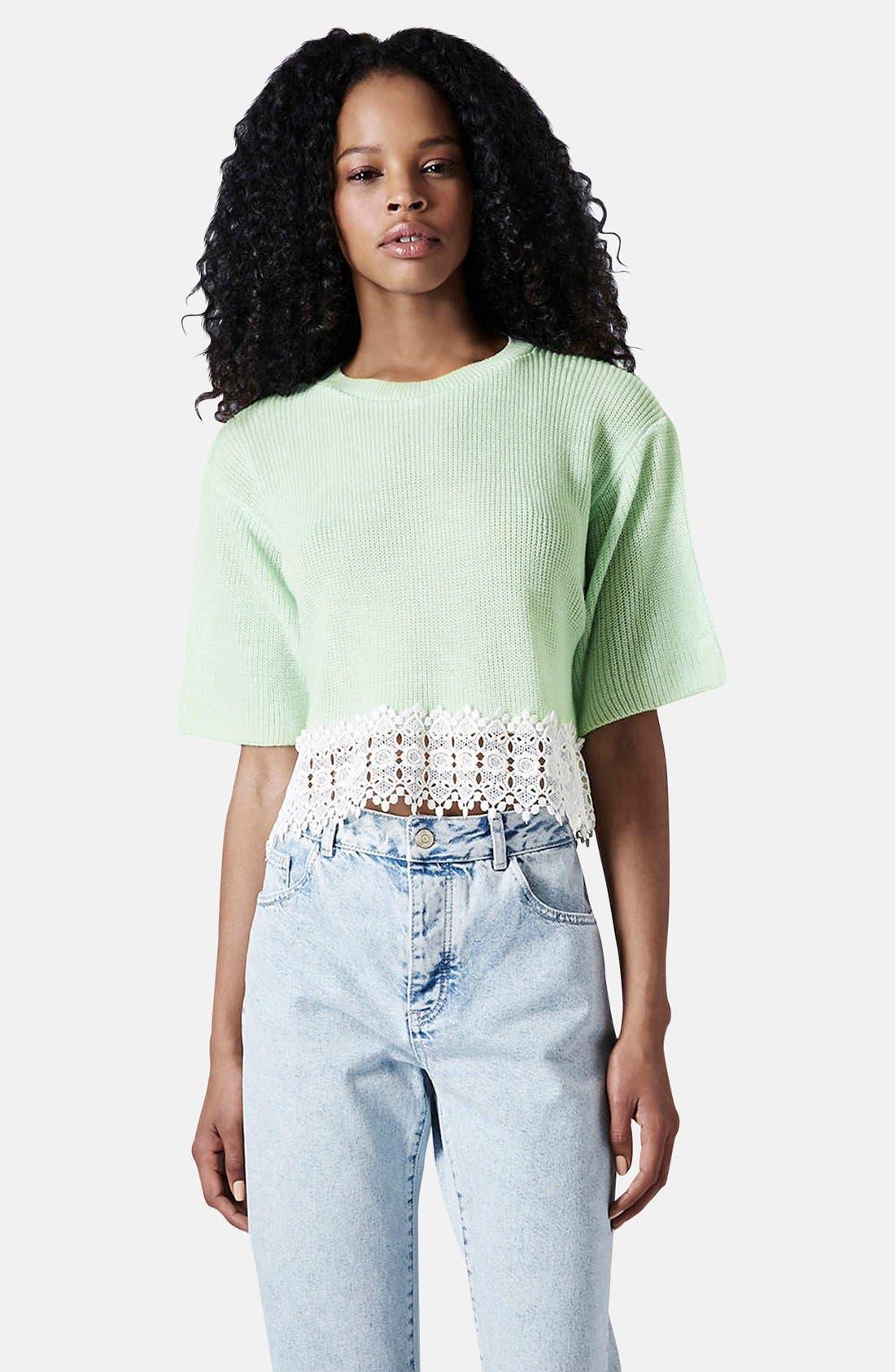 Alternate Image 1 Selected - Topshop Crocheted Hem Crop Sweater (Regular & Petite)