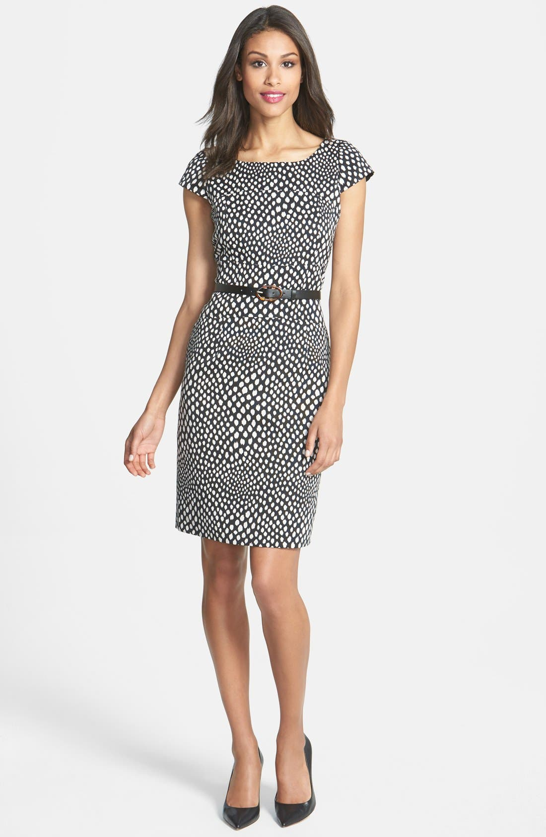 Alternate Image 3  - Tahari Belted Print Sheath Dress (Petite)