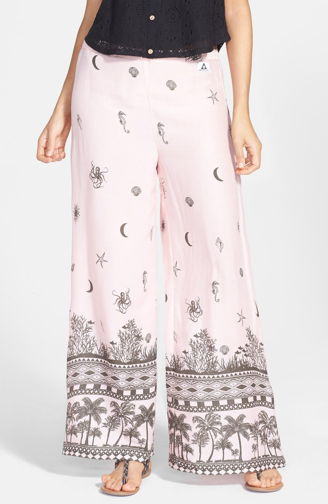 Alternate Image 1 Selected - Element 'Existence' Print Palazzo Pants (Juniors)