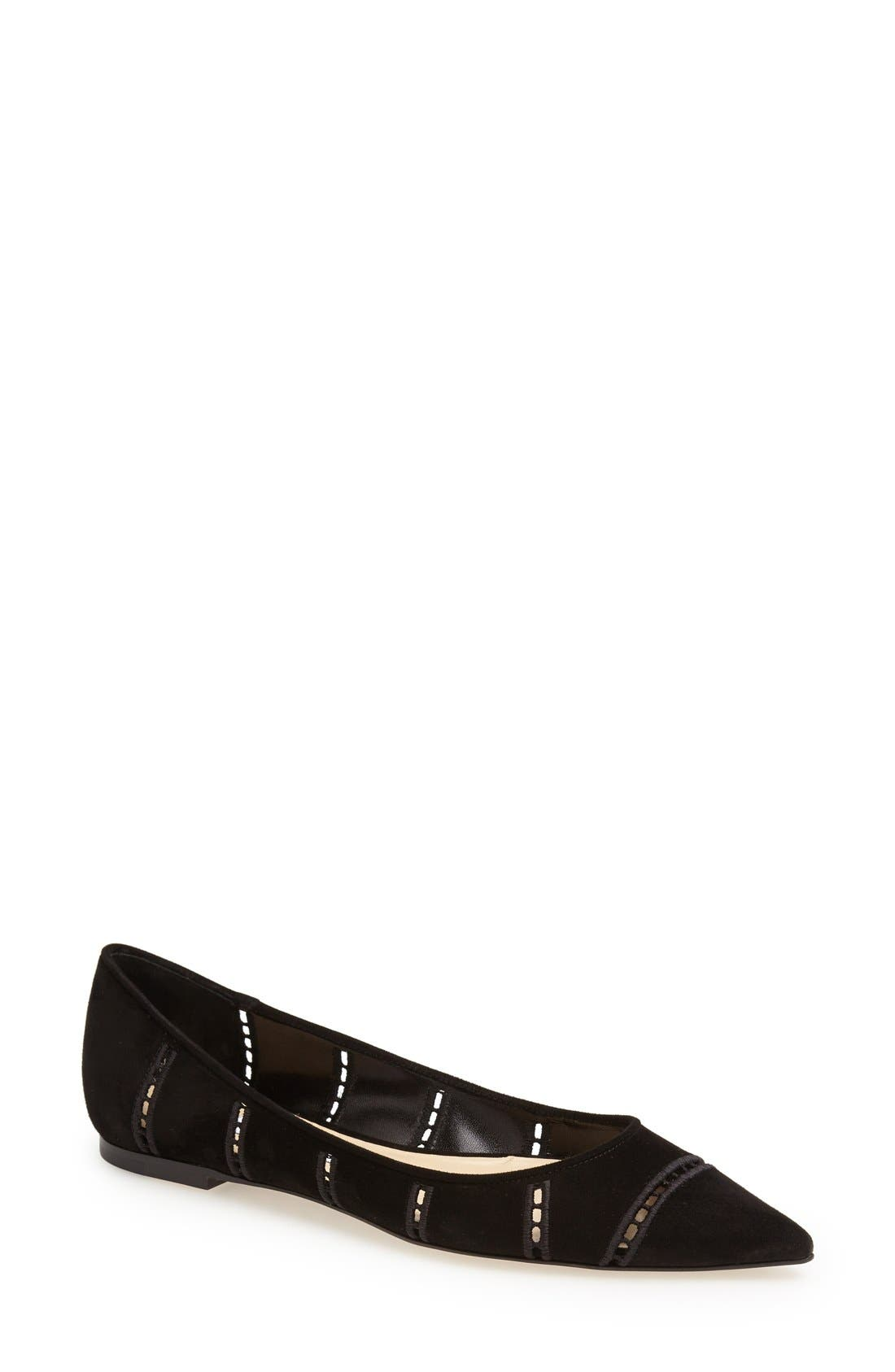 Main Image - Jimmy Choo 'Alina' Pointy Toe Perforated Broderie Anglaise Suede Flat (Women)