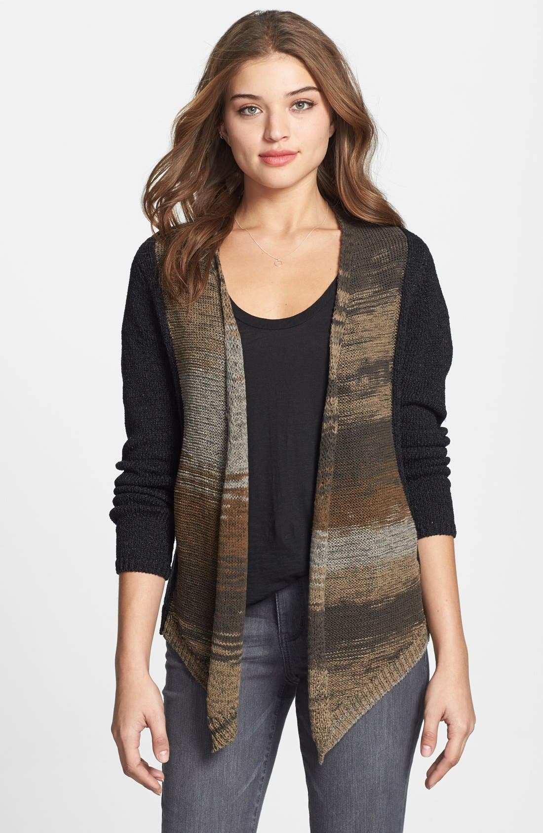 Alternate Image 1 Selected - Curio Colorblock Open Front Cotton Blend Cardigan (Regular & Petite) (Online Only)