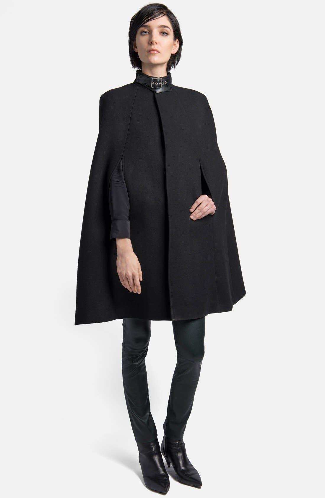 Main Image - Saint Laurent Leather Collar Wool Blend Cape