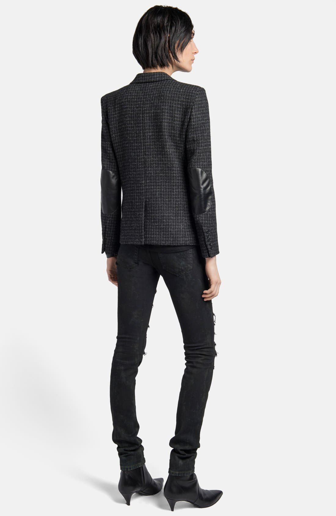 Alternate Image 4  - Saint Laurent Leather Elbow Patch Houndstooth Tweed Blazer