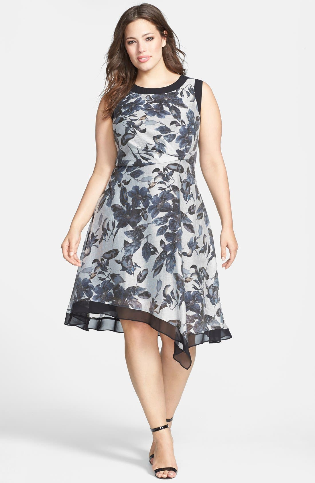 Main Image - Adrianna Papell Contrast Trim Print Sleeveless Dress (Plus Size)
