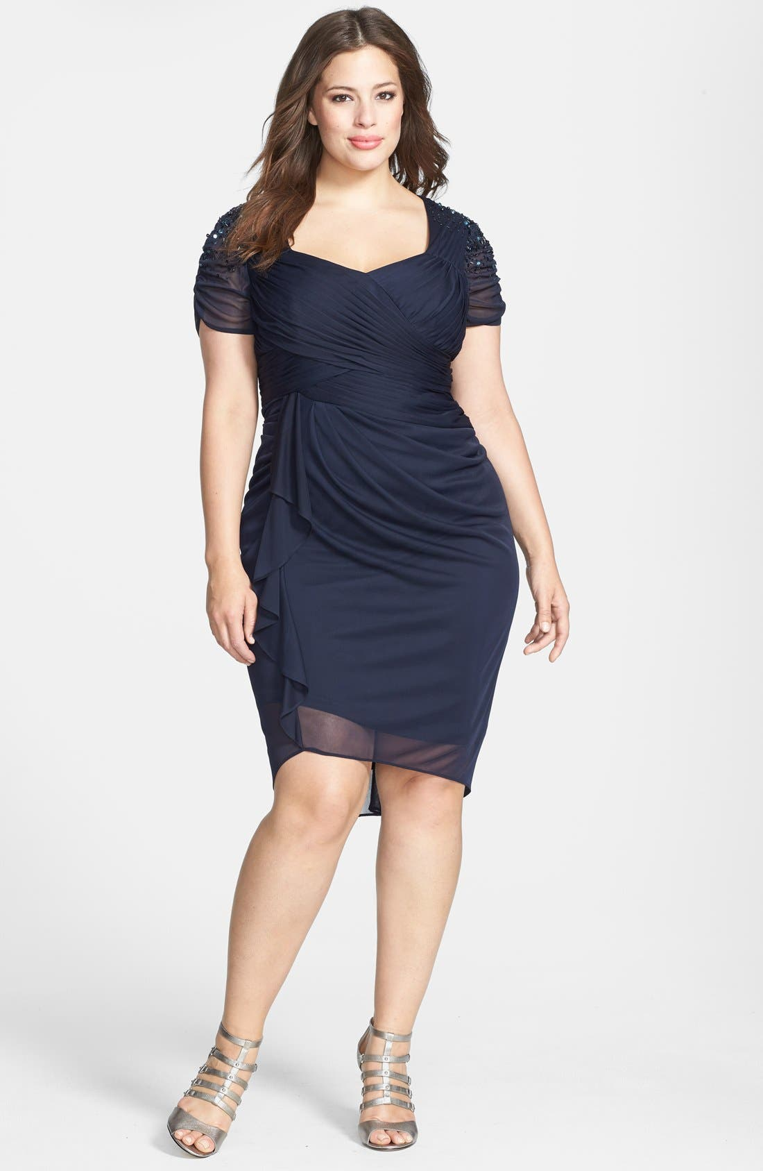 Alternate Image 1 Selected - Adrianna Papell Cap Sleeve Side Ruched Dress (Plus Size)