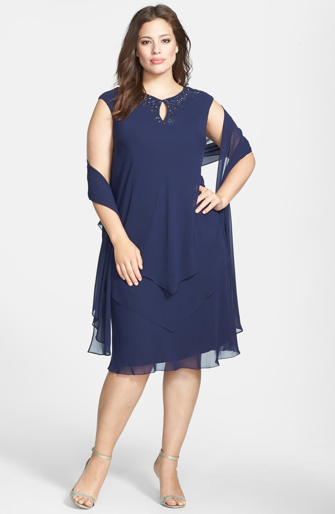 Alternate Image 1 Selected - Alex Evenings Embellished Keyhole Tiered Chiffon Dress with Shawl (Plus Size)