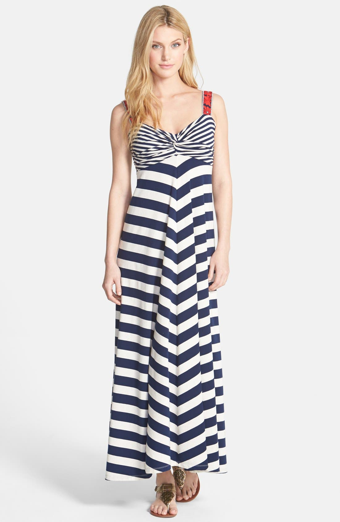 Alternate Image 1 Selected - Lucky Brand Chevron Stripe Maxi Dress