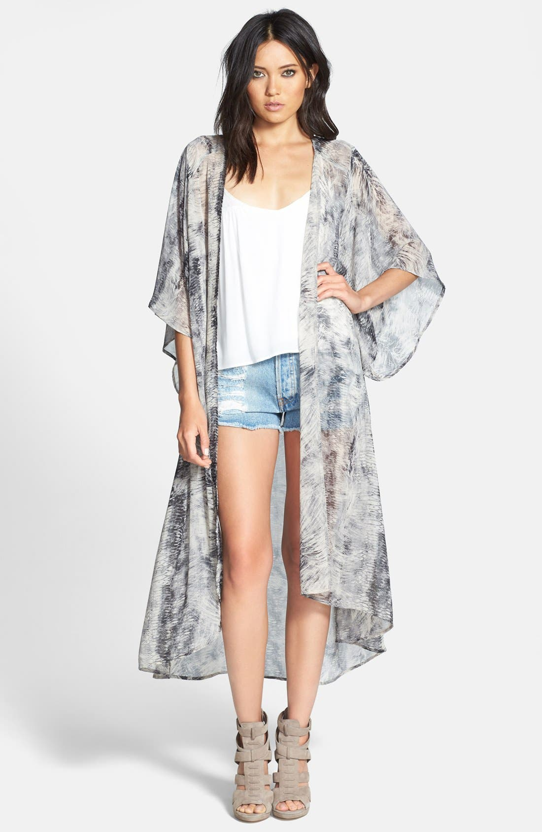 Main Image - ASTR Print Duster Kimono Cardigan