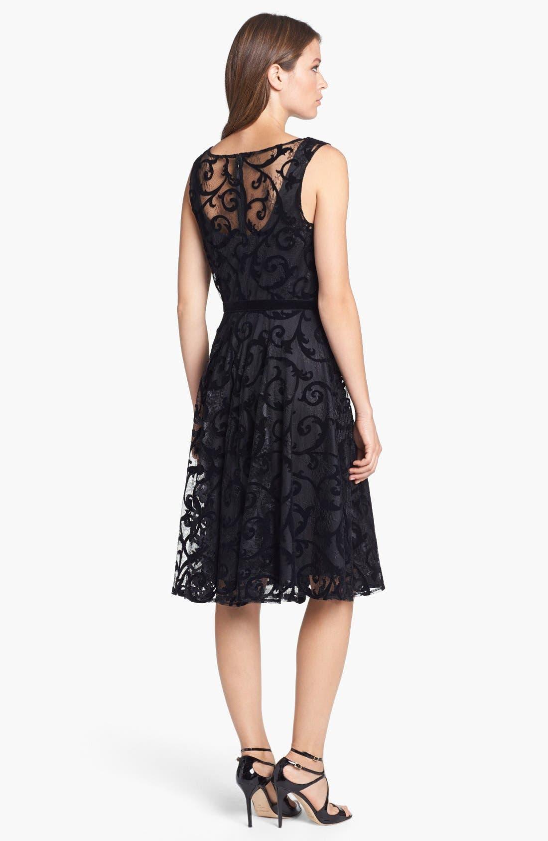 Alternate Image 2  - Isaac Mizrahi New York Lace Burnout Fit & Flare Dress (Petite)